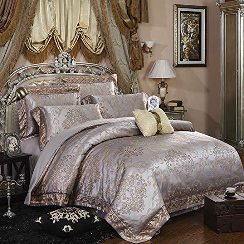 Cnspin Satin Jacquard-Bettwäsche Baumwolle Schlafzimmer Wohnung Königin Bettbezüge Mit 1 Bettbezug 1 Bettlaken 2 Kissenbezüge,A,200CMX230CM