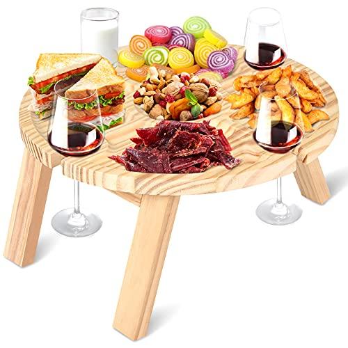 NUZEKY Tavolo da picnic pieghevole portatile da giardino – Tavolo da campeggio piccolo in legno con supporto in vetro – Tavolo da vino creativo 2 in 1 per campeggio, picnic, spiaggia, barbecue