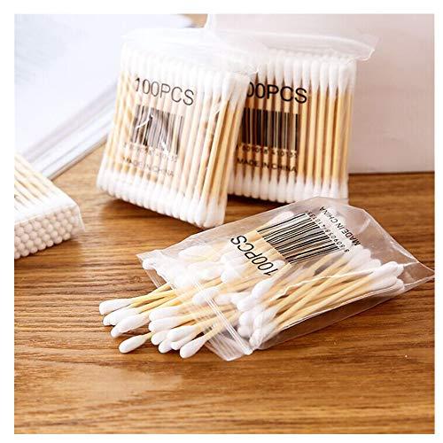 Coton Tiges 10 Paquets Bourgeons de Coton en Bambou pour Outil de Nettoyage pour Soins de Nettoyage des Oreilles Soin des Blessures Outil Cosmétique Biodégradables Double Tête (Multicolor)