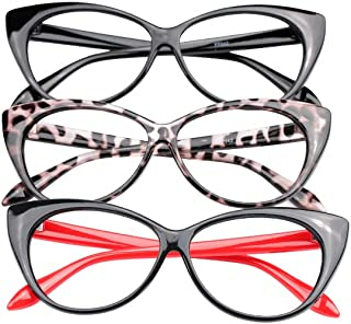 3-Pair Value Pack Fashion Designer Cat Eye Reading Glasses for Womens