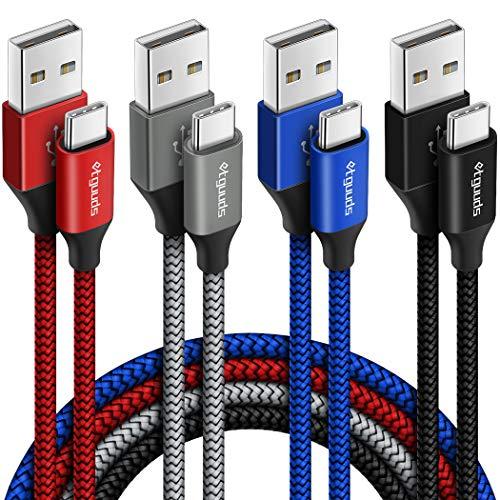 etguuds [4-Pack,1.8M] Cable USB Tipo C, Cargador USB Tipo C Nylon Carga Rápida y Sincronización Cable USB C Compatible con Samsung Galaxy Note 9/Note 10/S10/S9/S8, HTC 10/U11/U12+, LG G5/G6/G7, Moto