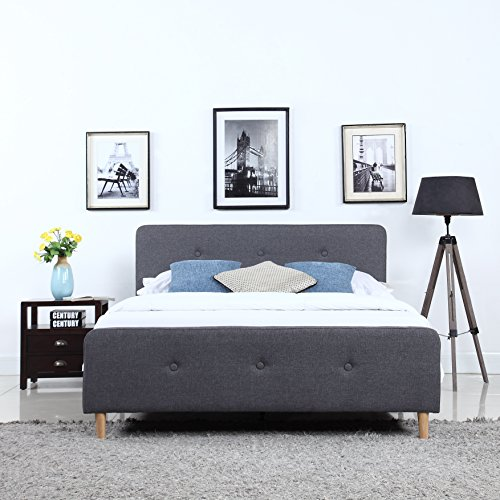 Divano Roma Furniture Mid-Century Modern Linen Fabric Low Profile Bed Frame (Queen, Dark Grey)
