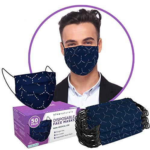 Cool Face Masks for Men (50 Pack) - 3-Ply Mens Face Mask, Premium Designer Navy Blue Face Mask for Men with Comfortable Earloops & Adjustable Nose Strip
