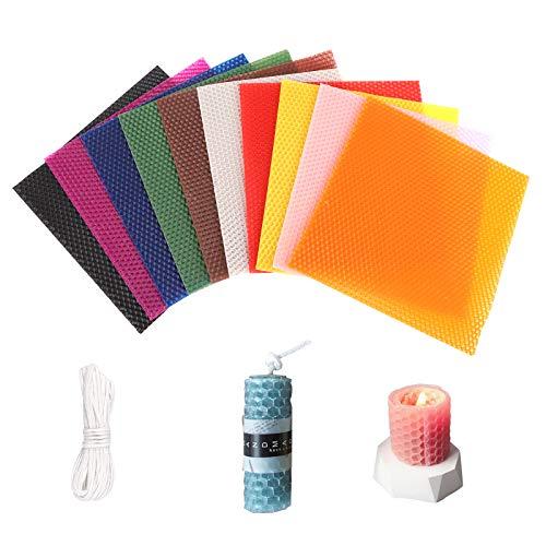 GLAITC Vela de Cera de Abejas de 10 Colores, Kit de fabricación de Velas de Hojas de Cera de Abejas con mechas de algodón de 10 pies, Kit de Hojas de Vela de Panal Natural DIY de 8'x 8'