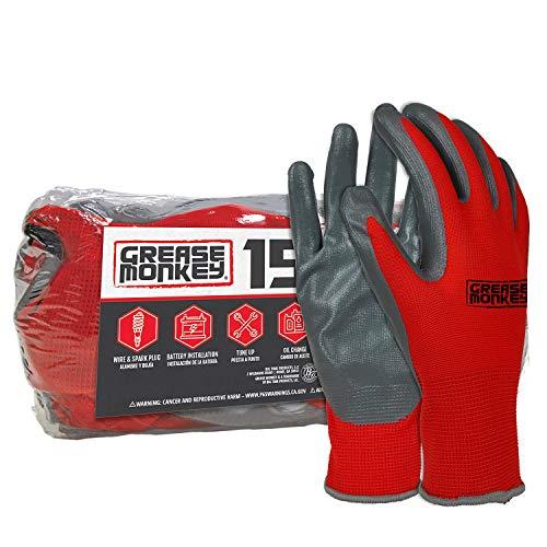 Grease Monkey Nitrile Coated Work Gloves - 15 Pairs - Size Large