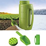 Hand Spreader Shaker, Handheld Spreader with Scoop and Adjustable Opening, Also for Fertilizer, Grass Seed and Earth Food, Ice & Snow Melt, Salt Multiple Opening Sizes for Any Need(2L or 76oz)