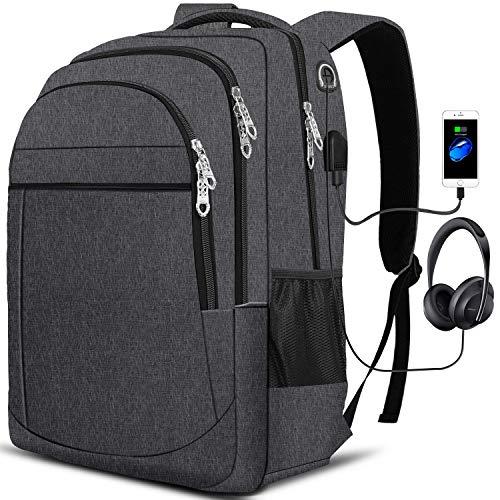 PUREBOX Laptop Rucksack Herren Tasche 17,3 Zoll Wasserdicht Arbeit Rucksack Schulrucksack mit USB-Ladeanschluss und Kopfhörerschnittstelle Business Daypack Wanderrucksack, 45L (Dunkelgrau)
