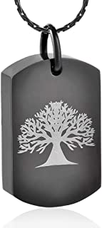 constantlife Cremation Jewelry for Ashes Tree of Life Engraving Stainless Steel Urn Pendant Necklace Personalized Customization Keepsake