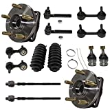 Detroit Axle - Front Wheel Hub bearing Lower Ball Joint Sway Bar Tie Rod w/Boot for 2005-2009 Legacy, Outback Subaru 2006 2007 2008-14pc Set