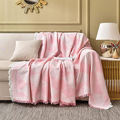 haoyunlai Armchair Throw for Couch Sofa Bed Sand blanket bed blanket cover multi-function sofa cover dustproof cloth-Shallow powder_230 * 250cm