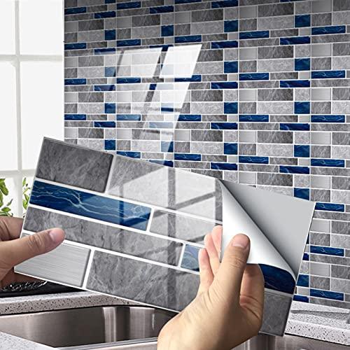 RAILONCH 12/24 unidades de adhesivos para pared posterior de cocina, azulejos de PVC, impermeables, para cocina, baño y más (estilo 8,24 unidades)