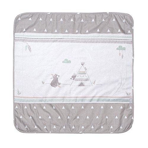 roba Babydecke 'Indibär', Decke zum Kuscheln, Krabbeln & Spielen, 2 seitig, 2 Funktionen: 1x super weich, warm & flauschig, 1 x 100% Baumwolle
