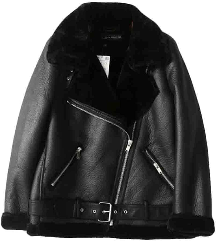 WSPLYSPJY Womens Faux Fur Collar Leather Short Jackets Outwear Coats