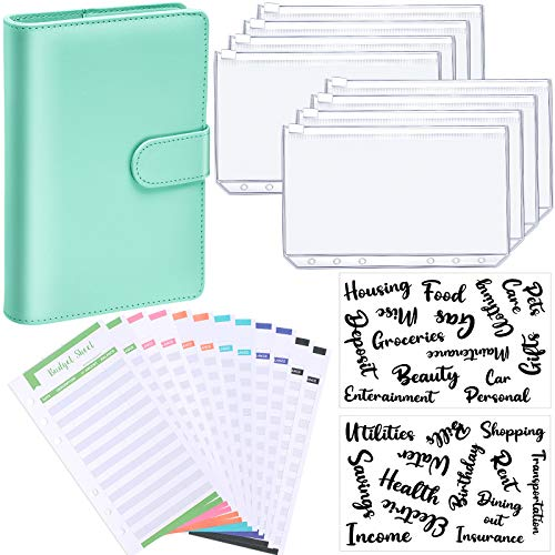 PU Leather Notebook Binder Budget Planner Organizer 6 Ring Binder Cover, 8 Pieces Binder Pockets, 12 Pieces Expense Budget Sheets and 26 Categories Letter Sticker Label (Green,Small,Cursive)