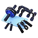 <span class='highlight'><span class='highlight'>HUKOER</span></span> 5-in-1 AB Wheel Roller Kit Abdominal Core Abdominal Press Wheel Pro Push-Up Bar Hand Gripper Jump Rope Knee Pad Free Home Gym Equipment for Home Workout Gym Muscle Strength Exercise