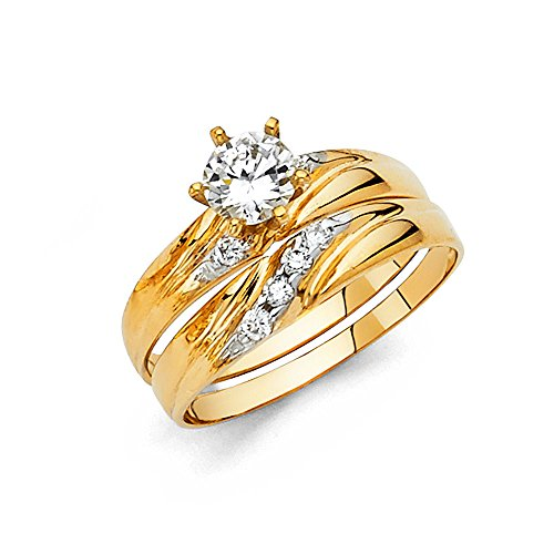 Ladies 14k Yellow Gold Engagement Ring and Wedding Band Bridal Set - Size 8.5