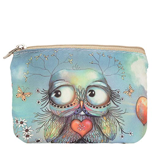 Women and Girls Cute Fashion Coin Purse Wallet Bag Change Pouch Key Holder (Balloon Owl)