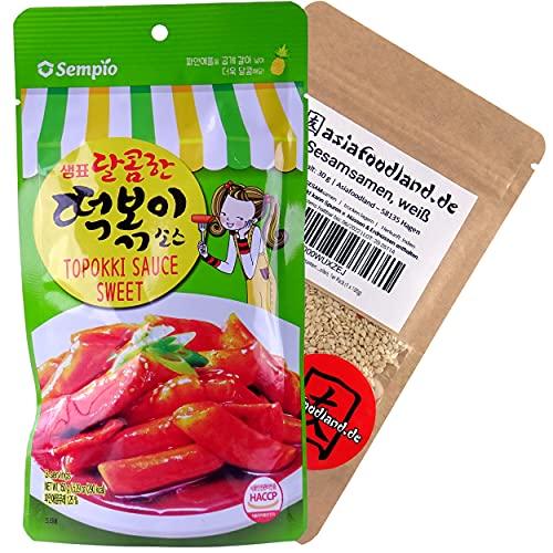asiafoodland - Sweet Sauce Set für Tteok-bokki / Topokki inkl. Sesam, 1er Pack (1x 180g)