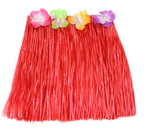 Jupe Hawaïenne en paille rouge de 40 cm avec des fleurs à la taille. Ideal pour les fêtes de plages. ( X6 )