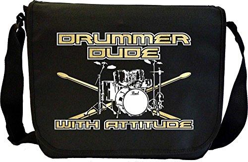 MusicaliTee Drum Kit Sticks Dude Attitude - Sheet Music Document Bag Musik Notentasche