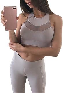 42f8db3f74 FarJing Fashion Women Mesh Perspective Sports Bra Vest Tank Tops Running  Fitness Yoga Bra