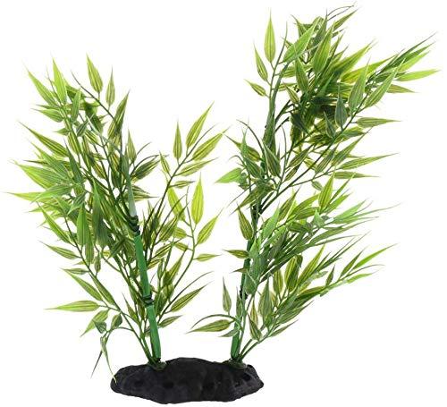 EPRHAY - Vaso per pesci in plastica con foglie di bambù, per piante di roccia, rettili e vivarium, decorazione per acquario, 22 cm