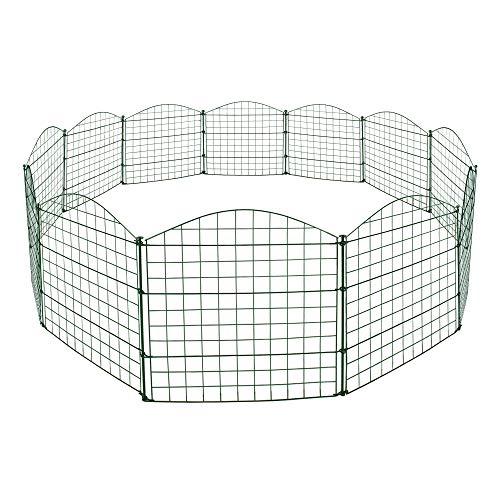 REAWOW Teichzaun Set Komplett-Set mit 12 Zaunelementen und 13 Befestigungsstäben Welpanauslauf Metall Gartenzaun Freigehege ( Oberbogen,Grün)