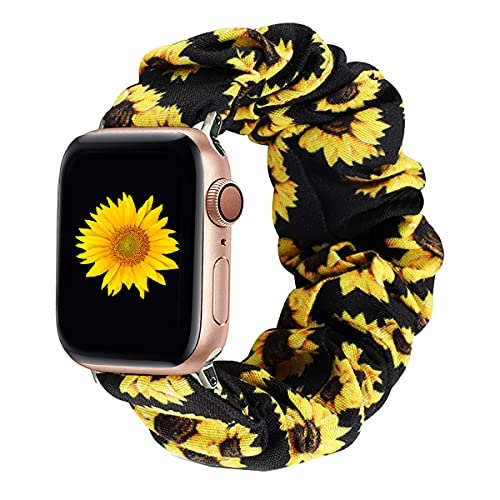 Magwei Scrunchie Elastic Watch Band Compatible with Apple Watch 38mm/40mm 42mm/44mm,Elastic Wristband Replacement Compatible for iWatch Series 6/5/4/3/2/1 Apple Watch SE (Sunflower, 42mm/44mm)