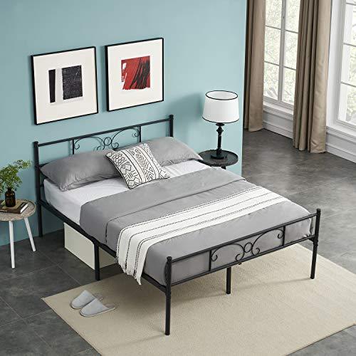 Symylife Lit Double en métal à Motif Papillon Cadre de lit Double avec Lattes Solides et Structure en métal 140x190cm, Noir