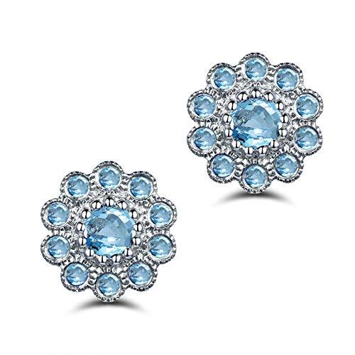 AueDsa Pendientes Mujer Plata de Ley 925,Pendientes de Plata Azul Flor con 6X6MM Oval Topacio Azul Pendientes Mujer Boda