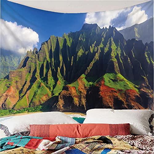 Weibing Tapiz de impresión en Color 3D Estilo Moderno Paisaje Natural montaña mar Cielo Claro patrón Colgante de Pared decoración para Dormitorio Sala de Estar 260(An) x240(H) cm