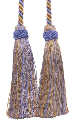 Doppelte Quaste/Lavendel blau, taupe/Quaste Krawatte mit 10,2cm Quasten, 66cm Spread (Kabellänge), Imperial II Collection Style # IKT Farbe: Periwinkle Gold–5080