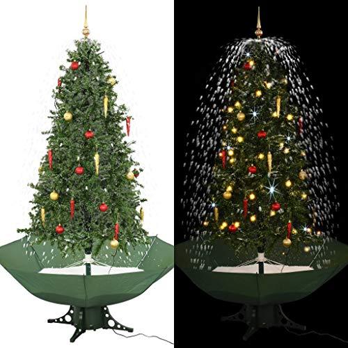 UnfadeMemory Schneiender Weihnachtsbaum Tannenbaum mit Schirmfuß Künstlich Christbaum Weihnachtsbaumschmuck Dekoration mit Kugeln und Lichtern (Grün, Gesamthöhe 190 cm)