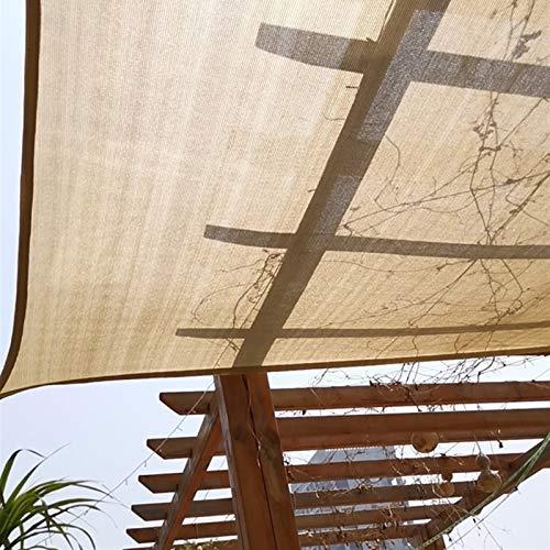 LSM Velas de Sombra Tela de Sombra de Bloque de 95% UV, Cubierta de Sombra de Pérgola a Prueba de Viento con Ojales y Borde con Cinta, para Patio de Plantas de Flores de Invernadero (Beige)