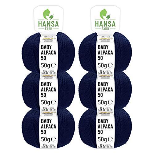 HANSA-FARM 100% Laine d'alpaga (bebé) dans 50+ Couleurs (ne Gratte Pas) - Kit de 300g (6 x 50g) - Laine Baby alpaga pour Tricot & Crochet dans 6 épaisseurs de Fil de Bleu foncé