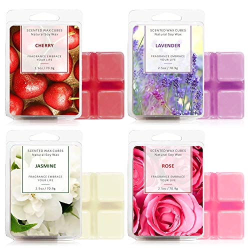 SnailDigit Scented Wax Melts 4 Packs for Home Scanted Wax Cubes Soy Wax for Gifts Rose, Jasmine, Cherry, Lavender