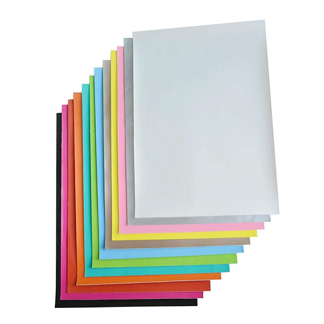 12 Pieces A4 Size Solid Colors 0.8 MM Smooth PVC Synthetic Faux Leather Fabric Sheets Cotton Back for Making Hair Bows, Headband, Hair Accessories, 12 Colors Each Color One Sheet