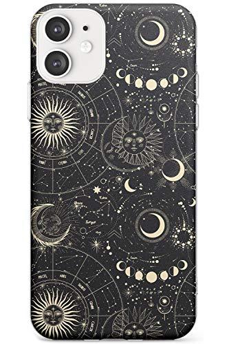 Hülle Warehouse Sonne, Mond und Sternzeichen Stern Slim Hülle kompatibel mit iPhone 11 TPU Schutz Light Phone Tasche mit Tierkreis Jahrgang Sterne Platz Moons