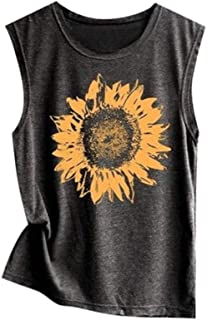 Women Sleeveless Sunflowe Print T Shirt Casual Loose Vest Tank Top Soft Comfortable