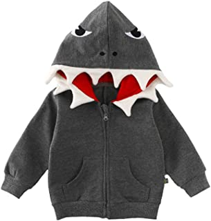 Fairy Baby Toddler Boys Girls Outfit Cartoon Dinosaur Jacket Hoodies Outwear Coat Size 1T (Gray)