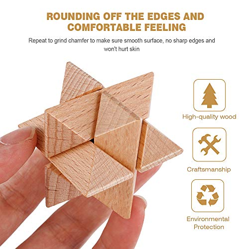 Coogam Wooden Metal Wire Puzzles Brain Teasers, 8 Set Mind Game Unlock Interlock IQ Hand Puzzle Toys Party Favor Gifts for Kids Adults All Ages Challenge