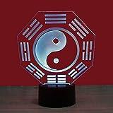 Likaxyd Ilusión 3D Luz Nocturna,Con Ilusión En 3D De 7 Colores E Interruptor,Mejor Para Niños Navidad Cumpleaños Regalo [Clase De Eficiencia Energética A++]-Diagrama De Taiji Chino
