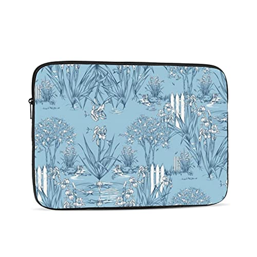 10-17 inch Laptop Case Sleeve Bag, Iris Pond Pattern Small Sky Blue Navy White,Waterproof Neoprene Notebook Protective Case Compatible for Computer Tablet Lenovo, HP Envy, MacBook Pro, MacBook Air