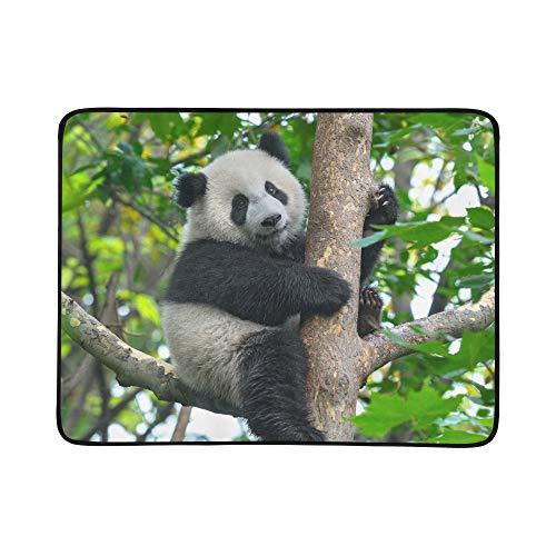 WYYWCY Lindo Oso Panda Escalada En Patrón de árbol Colchoneta de Manta portátil y Plegable de 60x78 Pulgadas Práctica Estera para Acampar Picnic Playa Interior Viaje al Aire Libre