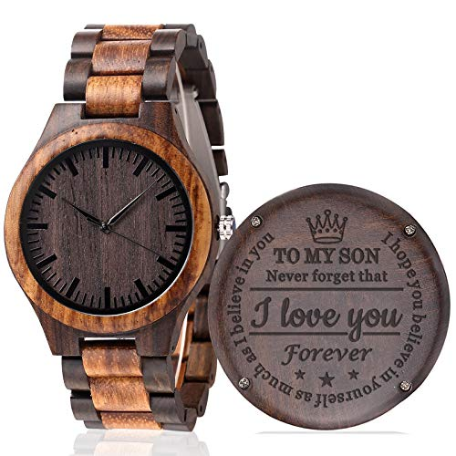 KOSTING Personalized Engraved Men Natural Wood Watches for Son Wooden Strap Band Customized Stylish Classic Unique Birthday Christmas Day Graduation Gifts from Mom