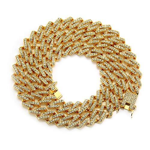 Addmluck Juweliers Heren Iced Out Hip Hop Gold Tone Cubaanse Link Ketting Choker Ketting (Goud, 24 inch)
