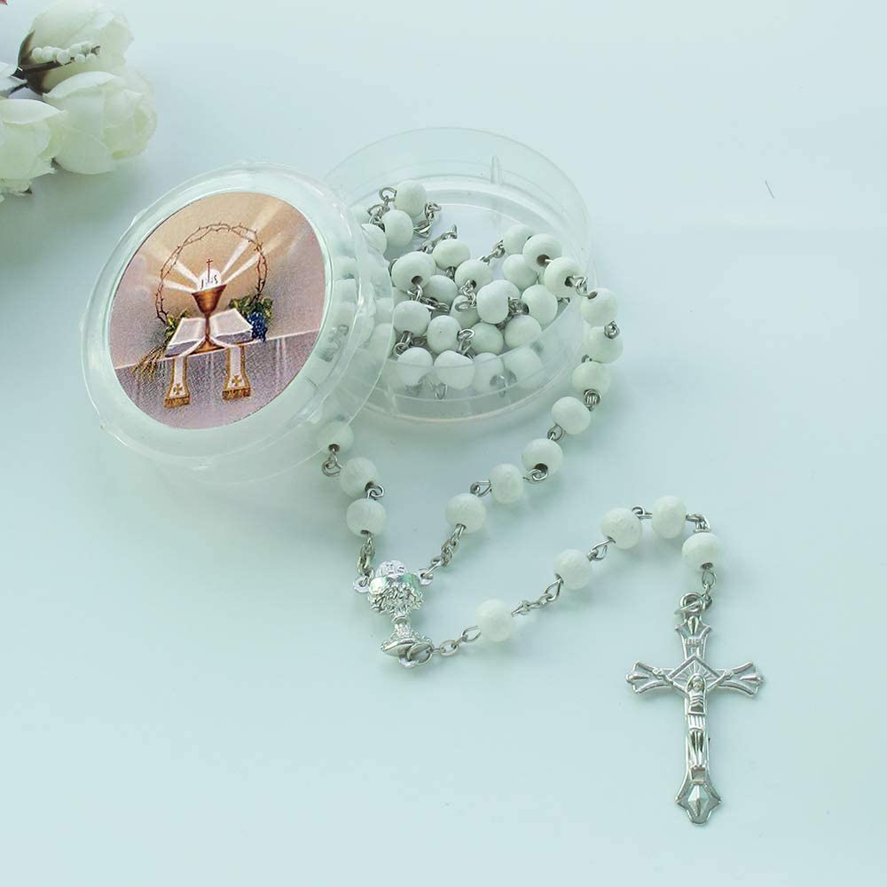 6mm, Blue WE First Holy Communion Scented Rosary Favor 12 Rosaries with Individual Gift Box and Organza Bag.