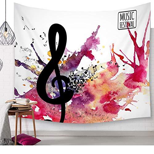 Heldere gekleurde muziek noten wandtapijt piano toetsenbord aquarel muurkunst tapijten Boheemse wandbehang mandala muziek cultuur wandkleed hippie kleurrijke wanddoek tafelkleed sprei