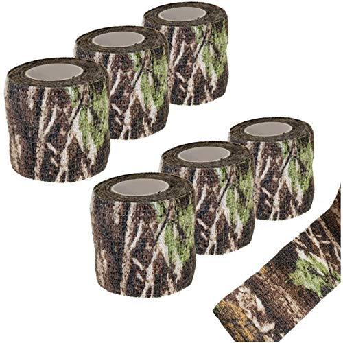 Camo Tape Stoff Tarnung Wasserfest Camouflage Tape Wrap Outdoor Tarnband Selbsthaftend Jagd Gewebe Band Tarnung Selbstklebende Schutz Camouflage Tape Wrap Tactical Camo Form Multi funktionale(6Stücke)