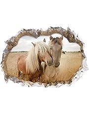 """EASYmaxx 3D muursticker """"Paarden""""   driedimensionaal, zelfklevend, afwasbaar eenvoudig aan te brengen en te verwijderen   70x100cm [motief: paarden]"""